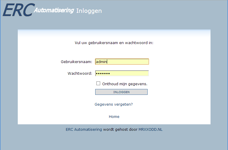 loginscherm websitebaker